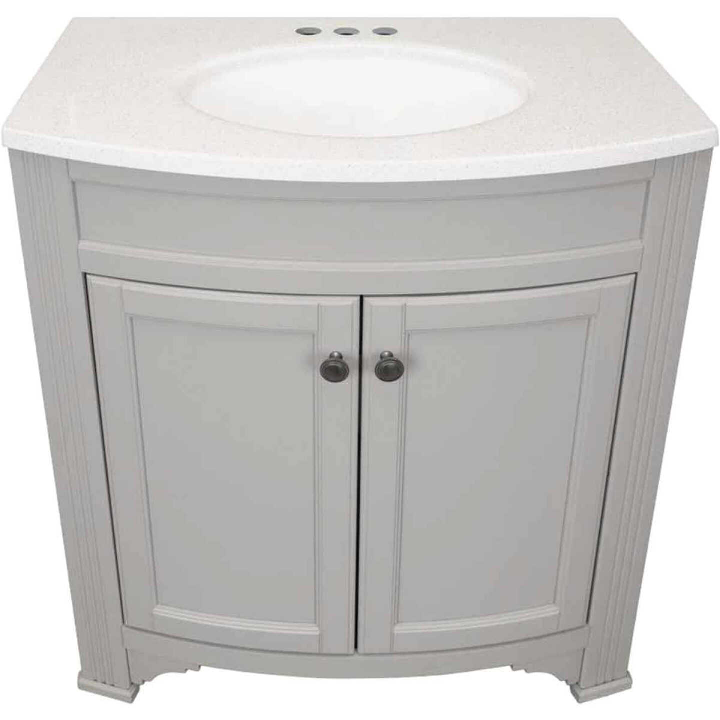 Continental Cabinets Duval Gray 30-1/2 In. W x 34-3/8 In. H x 18-3/4 In. D Vanity with Arctic White Top Image 3