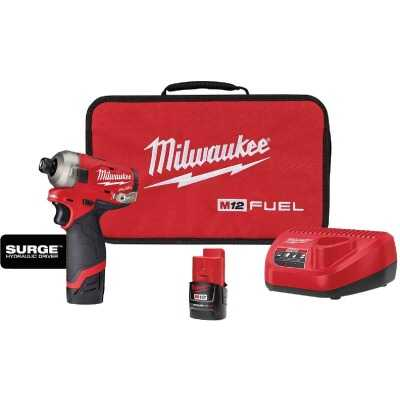 Milwaukee M12 FUEL SURGE 12 Volt Lithium-Ion Brushless 1/4 In. Hex Hydraulic Cordless Impact Driver Kit