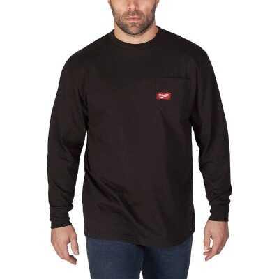 Milwaukee Small Black Long Sleeve Men's Heavy-Duty Pocket Shirt