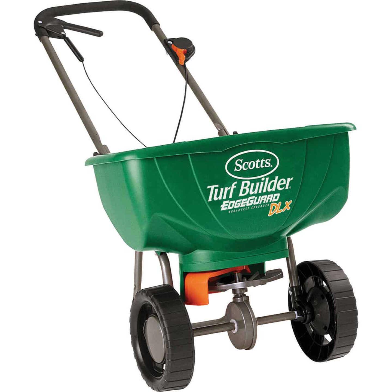 Scotts Turf Builder EdgeGuard DLX Broadcast Fertilizer Spreader Image 1