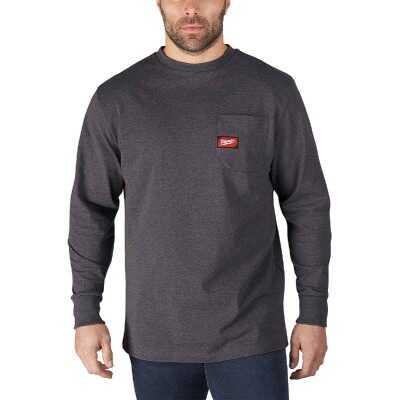 Milwaukee Small Gray Long Sleeve Men's Heavy-Duty Pocket Shirt