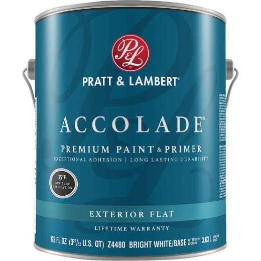 Pratt & Lambert Accolade 100% Acrylic Paint & Primer Flat Exterior House Paint, Bright White Base, 1 Gal.