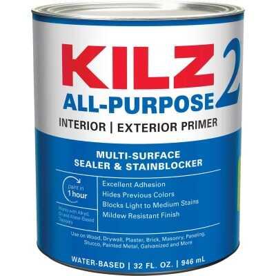 KILZ 2 Latex Interior/Exterior Sealer Stain Blocking Primer, White, 1 Qt.