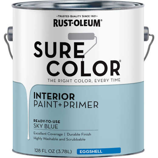 Simply Home Eggshell Lakefront Blue Interior Wall Paint, Gallon