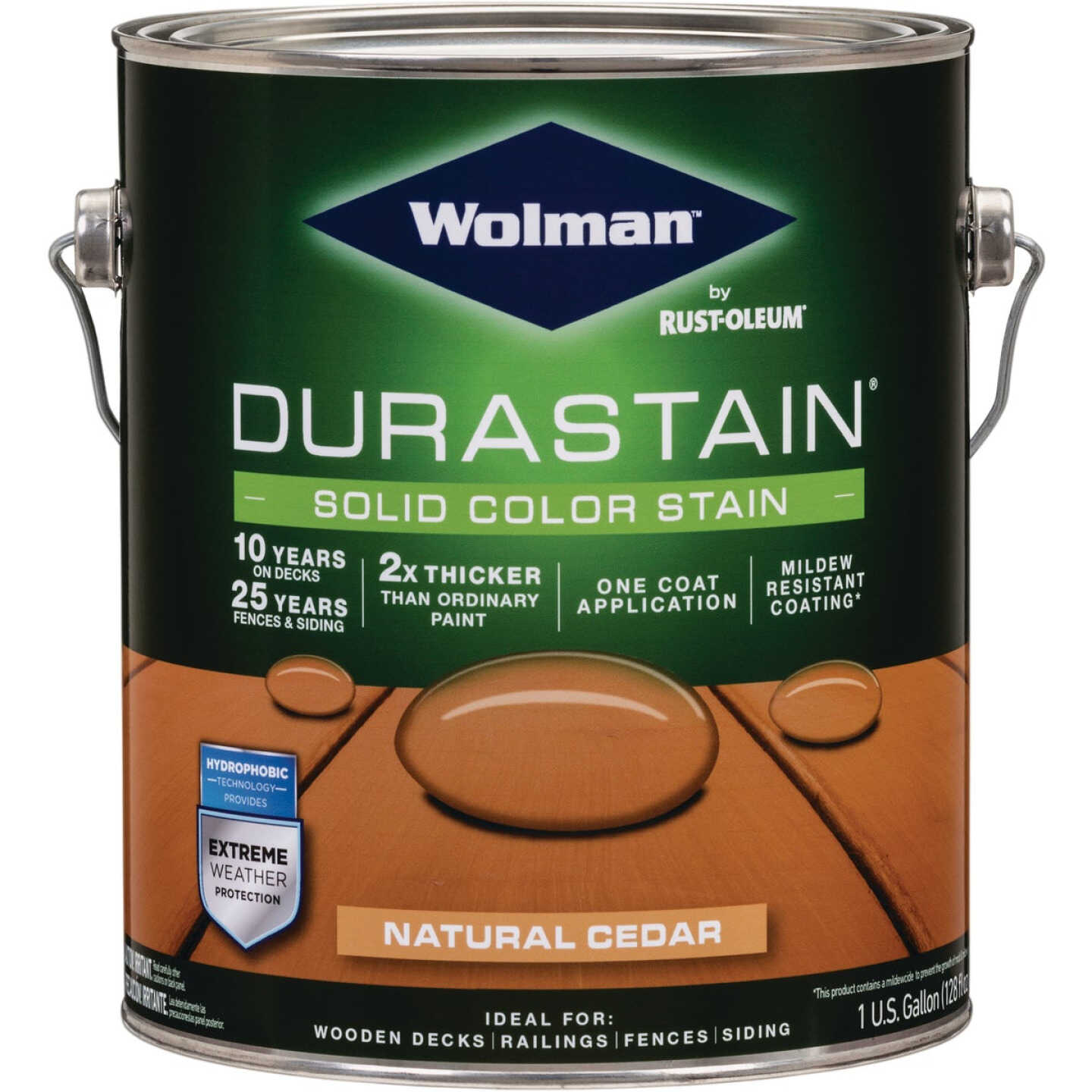 Wolman DuraStain One Coat Solid Color Exterior Stain, Natural Cedar 1 Gal. Image 1