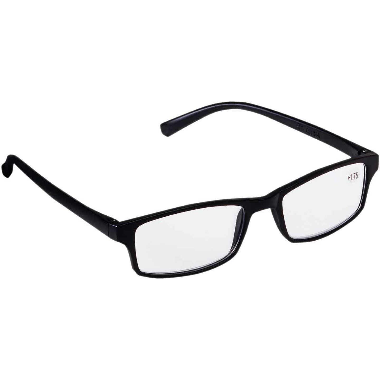 Regent 1.75 Diopter Rectangular Black Plastic Frame Reading Glasses Image 1